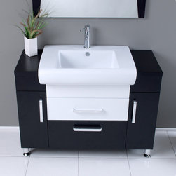 """Fresca - Fresca Vita 43"""" Modern Single Sink Vanity Set w/ Wenge Wood Finish - Post Modern detailed European design meets Tribeca loft, clean and simple lines. Almost 1950's industrial in look, but also fully functional 21st century design. This mostly dark wenge wood vanity utilizes cleverly constructed and executed storage spaces that contrast wonderfully with a white sink and white middle drawer. Mirror with matching dark wenge wood accents. Many faucet styles to choose from. Optional side cabinets are available."""