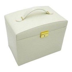 Morelle - Jackquilyn Small Leather Illuninated Box, Cream. - A smart leather handle and shiny key closure are just the beginning of this spacious and sophisticated leather jewelry box. Features five drawers and two snap-open side panels for chains and necklaces. An additional top panel with mirror opens to provide ample storage for pearls and trinkets. Also includes a mini lift-out takeaway box useful for travel. Newly patented stage like LED lighting will illuminate your jewels, and make them sparkle.