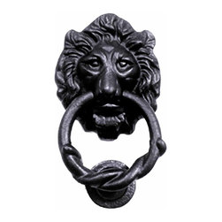 Renovators Supply - Door Knockers Black Cast Iron Lion Head Door Knocker 6H x 3 3/4W | 15863 - Door Knocker. Once a sign of their homeowner?s profession- doorknockers now come in a variety of designs & finishes for everyone?s style. Step-up your curb appeal & add value to your home with finishing touches like a knocker. Made of 100% black cast iron with our Exclusive rust-resistant RSF powder coat finish make this knocker a knock out! Easy installation- thread bolts through the door for secure mounting. Mounting hardware included. Measures 6 in. H x 3 3/4 in. W.