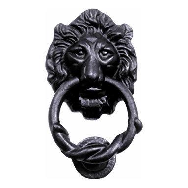 Renovators Supply - Door Knockers Black Cast Iron Lion Head Door Knocker 6H x 3 3/4W   15863 - Door Knocker. Once a sign of their homeowner?s profession- doorknockers now come in a variety of designs & finishes for everyone?s style. Step-up your curb appeal & add value to your home with finishing touches like a knocker. Made of 100% black cast iron with our Exclusive rust-resistant RSF powder coat finish make this knocker a knock out! Easy installation- thread bolts through the door for secure mounting. Mounting hardware included. Measures 6 in. H x 3 3/4 in. W.