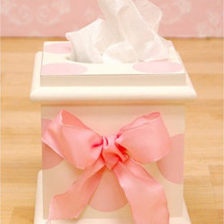 New Arrivals - New Arrivals Pink Polka Dot Tissue Box - TB-050 - Shop for Bath Accessories from Hayneedle.com! The New Arrivals Pink Polka Dot Tissue Box is the perfect accessory for your girl's room. Made of sturdy wood this tissue box features hand-painted large polka dots in soft pink shades. A matching ribbon embellishment is placed on its center. A wonderful addition to livening up bland tissue boxes.About New Arrivals Inc.New Arrivals Inc. was started 15 years ago by mom-of-three Tori Swaim. What started as a small accessory and gift product line has grown into hundreds of products including bedding nursery and kid s room decor letters and baby gifts. New Arrivals Inc. is your one-stop-shop for designing the baby nursery or kids room of your dreams.