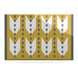 """Kess InHouse - Pellerina Design """"Golden Aztec"""" Yellow White Metal Luxe Panel (24"""" x 36"""") - Our luxe KESS InHouse art panels are the perfect addition to your super fab living room, dining room, bedroom or bathroom. Heck, we have customers that have them in their sunrooms. These items are the art equivalent to flat screens. They offer a bright splash of color in a sleek and elegant way. They are available in square and rectangle sizes. Comes with a shadow mount for an even sleeker finish. By infusing the dyes of the artwork directly onto specially coated metal panels, the artwork is extremely durable and will showcase the exceptional detail. Use them together to make large art installations or showcase them individually. Our KESS InHouse Art Panels will jump off your walls. We can't wait to see what our interior design savvy clients will come up with next."""