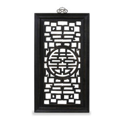 China Furniture and Arts - Elmwood Double Happiness Wall Plaque - The Chinese symbol of double happiness is carved on the center of the panel. Constructed with Elmwood using traditional joinery methods. Perfect for modern home decorating needs. Hand applied black distressed finish. Brass hook included.
