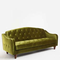 Ava Tufted Sleeper Sofa, Moss - This green is so gorgeous. The tufting and velvet add such a rich texture to any space.