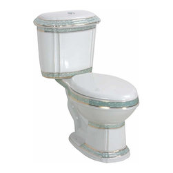 "Renovators Supply - Toilets White/Green China India Reserve Dual Flush Toilet Elong | 12816 - Dual Flush Toilets India Reserve Toilet TOP Flush: By using Dual Flush technology the EPA estimates homeowners save up to 25,000 gal. of water a year. How? Use 0.8 LOW flush for liquids and 1.6 HIGH flush for solid waste. Control your water usage to SAVE money and conserve water. Our G-Force high efficiency flush system technology lets you flush only ONCE! Eliminate the need to double flush. Ergonomic easy height and elongated bowl makes using it safer by putting less strain on your body. Includes SAFE and QUIET ""No-Slam"" plastic toilet seat and EASY top flush plastic faux chrome button. Beautiful SAGE green accent color. Measures 31 3/4 inch H."
