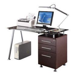 Techni Mobili - Techni Mobili Glass-Top Desk w/ Built-in File Cabinet in Chocolate - Glass-Top Desk w/ Built-in File Cabinet in Chocolate by Techni Mobli This stylish Techni Mobili Glass-top Desk with Built-in File Cabinet is constructed with a heavy-duty 8 mm tempered safety glass desktop and a silver scratch-resistant powder-coated steel frame. The built-in file cabinet, made of heavy-duty engineered wood panels with a moisture resistant PVC laminate veneer, features a small shelf beneath the desktop, two storage drawers, and one letter size hanging-file drawer. The top drawer lock protects the entire cabinet and a non-marking nylon caster provides additional support when the drawers are open. COLOR: Chocolate.  Desk (1)