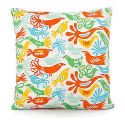 "Blooming Home Decor - Yellow & Orange Bird Throw Pillow Cover - (Available in 18""x18"", 20""x20"")"