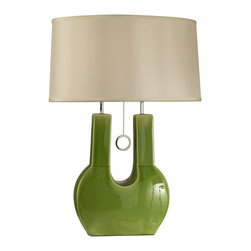 Nova Lighting - Nova Lighting Emperor Contemporary Table Lamp X-0910101 - From the Emperor Collection, this Nova Lighting contemporary table lamp will add bold color and flair to living rooms, bedrooms and more. The unique shape of the ceramic base has been finished in a combination of Crackled Green and Chrome hues while a clean and classic white linen diffuser completes the design.