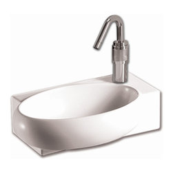 Whitehaus - Isabella Rectangular Wall Mount Sink - Includes mounting hardware. Faucet not included. Integrated oval bowl. Single hole faucet drilling on right side. Made from porcelain. White color. Inside: 13.37 in. W x 8.63 in. D x 3.5 in. H. Overall: 16.87 in. W x 11 in. D x 5.12 in. H (18 lbs.). Warranty