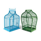 Grandin Road - Augusta Bird Cage - Decorative bird cage. Select from two colors; color denotes design as shown. Makes a delightful table decoration. Can also be hung on a wall with integrated keyhole hangers. Crafted from metal with an all-weather powdercoat finish. Make a beautiful centerpiece or a charming lantern when you fill our decorative Augusta Bird Cage with potted plants or Remote-ready Outdoor Candles (sold separately). Each cheerful cage is made to live outdoors, and it's styled with a pointed arch—Green is Moroccan-inspired and balances on four ball-shaped feet, Blue is Gothic-inspired and rests on a platform base.  .  .  .  .  . Suitable for indoor or outdoor display . Equipped with a latching door that opens and closes . Arrives fully assembled . Green cage is equipped with a drainage hole . Not intended as a home for birds .