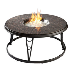 The Outdoor Greatroom - Granite Chat 42 Inch Gas Fire Pit Table With Granite Top And Lazy Susan - The design of this classic round fire pit table looks great in any location. It comes with a beautiful granite top that is sure to please the eye and work with many peices of outdoor furniture. Included is a swivel lazy susan that adds to the versatility of this gorgeous outdoor fire pit table. This fire pit table comes with a matching granite cover for the round 20 inch stainless steel Crystal Fire Burner that will truly light up the night and add warmth to your outdoor space. These burners are made from high quality stainless steel and include tempered, tumbled glass, an LP hose and regulator, a metal flex hose, a gas valve, and a push button sparker. With just a push of a button, a beautiful clean-burning fire appears atop a bed of highly reflective Diamond glass fire gems. All burners are shipped with orifices for LP or NG fuels and are UL approved for safety and quality. Adjust the flame height to your desired setting and enjoy the magic and ambience of a warm glowing fire.