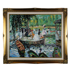 "overstockArt.com - Renoir - La Grenouillere (The Frog Pond) Oil Painting - 20"" x 24"" Oil Painting On Canvas Hand painted oil reproduction of a famous Renoir painting, La Grenouillere (The Frog Pond). The original masterpiece was created in 1869. Today it has been carefully recreated detail-by-detail, color-by-color to near perfection. In the 1870's Renoir's Impressionist technique reached its peak, with glorious accomplishment. His fully defined technique rendered facial expressions and movements masterfully. Renoir often used his friends and acquaintances such as fellow artists and writers. He spent weeks and sometimes months perfecting his paintings. Why not grace your home with this reproduced masterpiece? It is sure to bring many admirers!"