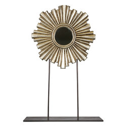 Worlds Away Carmen Mini Mirror Sculpture , Silver, Large - Gold or silver leaf iron and wood sculpture with mini mirror.