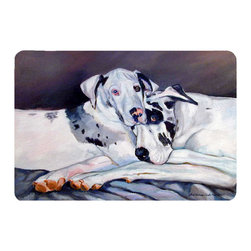 Caroline's Treasures - Harlequin Natural Great Danes Kitchen Or Bath Mat 24X36 - Kitchen or Bath COMFORT FLOOR MAT This mat is 24 inch by 36 inch.  Comfort Mat / Carpet / Rug that is Made and Printed in the USA. A foam cushion is attached to the bottom of the mat for comfort when standing. The mat has been permenantly dyed for moderate traffic. Durable and fade resistant. The back of the mat is rubber backed to keep the mat from slipping on a smooth floor. Use pressure and water from garden hose or power washer to clean the mat.  Vacuuming only with the hard wood floor setting, as to not pull up the knap of the felt.   Avoid soap or cleaner that produces suds when cleaning.  It will be difficult to get the suds out of the mat.