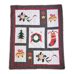None - Vintage Christmas Quilted Throw - This Christmas throw is the perfect holiday accent for your home. Drape this Christmas blanket on a couch for decoration and take it down to keep warm on those chilly winter nights.