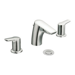 """Moen - Moen T6820 Chrome Bath Sink Faucet Trim Two Lever Handle 8""""-16"""" Center, ADA - Moen T6820 is part of the Method Bath collection. Moen T6820 has a Chrome finish. Moen T6820 two handle widespread lavatory faucet mounts in a 3-hole 8"""" - 16"""" Center sink, with 3 1/2"""" long and 5"""" high spout and a full 3 1/2"""" from deck to aerator. Moen T6820 two handle widespread trim requires Moen's 9000 or 69000 series valve to make this faucet complete. Valve sold separately. Moen T6820 is part of the Method collection with clean lines and a simple profile that contributes to the sleek, uncluttered look of a contemporary home. Moen T6820 two Lever handle provides ease of operation. This model features a laminar flow pattern for dramatic water presentation and flow is limited to 1.5 GPM max. Moen T6820 is approved by ADA. Chrome is a proven finish from Moen and provides style and durability. Moen T6820 metal lever handle meets all requirements of ADA CSA B125.1, ASME A112.18.1, NSF 61/9. Proposition 6"""". Lifetime limited Warranty. WaterSense certified."""