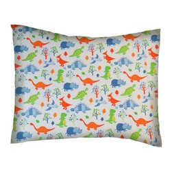 SheetWorld - SheetWorld Twin Pillow Case - Percale Pillow Case - Baby Dinosaurs - Made in USA - Pillow case is made of a durable all cotton percale/woven material. Fits a standard twin size pillow. Side Opening. Features a Baby dinosaurs links print.