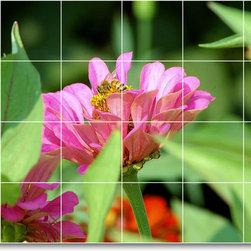 Picture-Tiles, LLC - Flower Picture Mural Tile F344 - * MURAL SIZE: 32x48 inch tile mural using (24) 8x8 ceramic tiles-satin finish.
