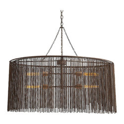 Kathy Kuo Home - Maxim Dark Antique Iron Beaded Oval 4 Light Chandelier - Mysterious and magnetic, this iron beaded oval chandelier creates a stunning effect, shrouding four filament bulbs in a curtain of beaded metal.  Dramatic and daring, yet subtle and sophisticated, the contrasts in this piece are a beautiful sight to behold.