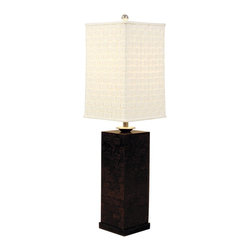 "Maitland-Smith - Maitland-Smith Coco Lumber Inlay Table Lamp - This elegant table lamp from Maitland-Smith features a lacquered coco lumber inlay on wood and polished aluminum. The piece is perfectly topped by a square silk shade. Polished aluminum and lacquered wood finish. Aluminum and coco lumber construction. Square silk shade. Takes one 100 watt three-way bulb (not included). 40"" high. Shade is 10 3/4"" across the top 11 3/4"" across the bottom and 17 1/4"" on the slant. Base to bottom of shade is 21"".  Polished aluminum and lacquered wood finish.  Aluminum and coco lumber construction.   Square silk shade.   Takes one 100 watt three-way bulb (not included).   40"" high.   Shade is 10 3/4"" across the top 11 3/4"" across the bottom and 17 1/4"" on the slant.   Base to bottom of shade is 21""."