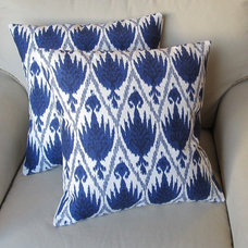Ikat Indigo Blue on White flax Pair of Pillow Covers by yiayias