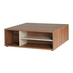 didit click furniture Italian Walnut Square Coffee Table