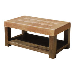 Sierra Living Concepts - Solid Wood & Leather Upholstered Coffee Table Bench - Define your space and how you want to use it on your own terms with our Solid Mango Wood & Leather Upholstered Pot Board Coffee Table Bench.