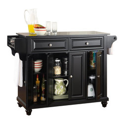 Crosley Furniture - Crosley Furniture Cambridge Solid Black Granite Top Kitchen Island in Black - Crosley Furniture - Kitchen Carts - KF30004DBK - Constructed of solid hardwood and wood veneers this kitchen island is designed for longevity. The beautiful raised panel doors and drawer fronts provide the ultimate in style to dress up your kitchen. Two deep drawers are great for anything from utensils to storage containers. Behind the four doors you will find adjustable shelves and an abundance of storage space for things that you prefer to be out of sight. Style function and quality make this mobile kitchen cart a wise addition to your home.