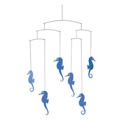 Flensted Mobiles - Sea Horse Mobile - Add a little under-the-sea magic to the room with this delightful mobile. Trios of sea horses perform a symphony of pirouettes with the slightest breeze.