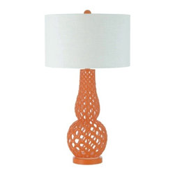 Orange Table Lamp with White Drum Shade -