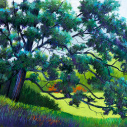 Rural Beauty (Original) by Mary Ann Stafford - In the foreground, a gigantic oak tree in the afternoon shade overlooks a sunlit meadow in the middle ground.  A row of trees form the background.  The cool greens and purples in front contrast with the warmness behind, making the viewer feel the pleasant respite of shade in the hot summer.   I played with the colors, adding oranges and lots of purple to make the scene more appealing.
