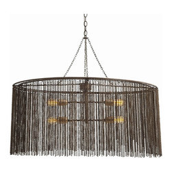 Arteriors - Maxim Chandelier - Stop for a second and get your ball bearings. A light fixture this dazzling is sure to disorient. A double-walled curtain of beaded metal balls creates shimmering movement and gently diffuses the light from four bulbs. Its oval shape would be perfect over your dining table or kitchen island.
