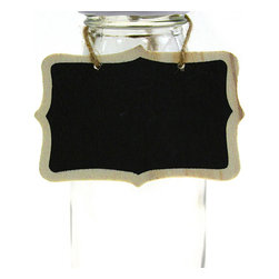 "Dress My Cupcake - Vintage Chalkboard Hanging Sign Tags with Strings - Chalkboards are a stylish and versatile way to add a ""do it yourself"" flair to your weddings, parties or grand events. Write names, numbers or little messages on these adorable chalkboard tags and hang them around the house to surprise and encourage your loved ones! Its rustic finish and fun shape will delight anyone who enters your home. Use these great chalkboard frame tag signs to decorate as place tags, name tags, favor tags, candy buffet label tags or key chains. Also great for guiding guests to their favorite foods or to their place at the table.  Your possibilities are endless!   * Set of 10  * Dimensions: 3.15"" x 2.36""  * Made of natural wood"