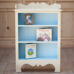Kids & Nursery Furniture - Harry's Bookcase lends casual elegance in the nursery, playroom or baby's bedroom with a beautifully carved frame. The classic children's furnishing is accented with a beadboard back and features three stationary shelves below its rectangular table top. Our Cottage Collection offers painted furnishings that are designed to look as though they have been around for years – distressed, worn and antiqued with a warm, rich and weathered feel. Each furniture piece is crafted and finished by hand using Sugar Pine Wood that reflect hours of hand rubbing and is sealed and protected with clear, flat lacquer. All pieces are made in the U.S.A. using Solid Wood Only including the bottom of every drawer to the back slats on all pieces.