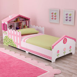 KidKraft Dollhouse Toddler Bed - This lovely dollhouse bed looks so sweet and fun to play in. Girls will love its pretty decor and can also use the headboard as a dollhouse play area or storage for books and toys.