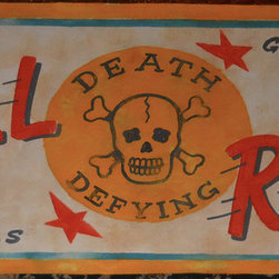 Canvas sideshow banners - Distressed Vintage Look Sideshow Banner designed and painted by Elliott Mattice. includes authentic rusted grommets on each corner. 4' wide.