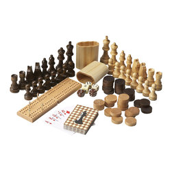 Butler Specialty - Butler Game Pieces - Complete set of game pieces including carved wood chess set, checkers, cribbage set and deck of cards. Perfect for use with any Butler game table.