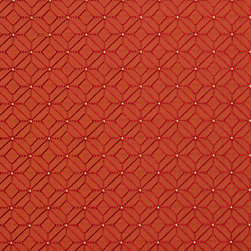 Red and Orange Geometric Diamonds Upholstery Fabric By The Yard - This upholstery fabric is great for all indoor upholstery, bedding, window treatments and fabric related projects. This material combines luxury with durability. It will truly look great on any piece of furniture.