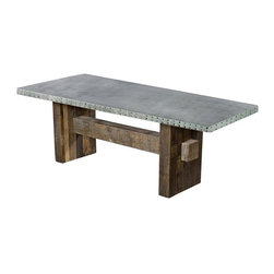 """Kingston Krafts - Redford Zinc Top Dining Table - The Redford Zinc Top Table"""" by Kingston Krafts! Fabricated by hand, REAL zinc sheeted top is fitted to a rustic reclaimed base. A signature acid wash is applied to the zinc top for a time worn look. Custom made to order for you."""