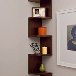 Danya B - Large Laminated Walnut Veneer Alternating Corner Wall Mount Shelf - This gorgeous Large Laminated Walnut Veneer Alternating Corner Wall Mount Shelf has the finest details and highest quality you will find anywhere! Large Laminated Walnut Veneer Alternating Corner Wall Mount Shelf is truly remarkable.