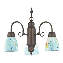 Design Classics Lighting - Mini-Chandelier with Blue Art Glass in Bronze Finish - 708-220 GL1021MB - Traditional neuvelle bronze 3-light chandelier with turquoise blue ocean modern bell art glass shades. Takes (3) 100-watt incandescent A19 bulb(s). Bulb(s) sold separately. UL listed. Dry location rated.
