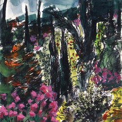 Riviera Watercolor, C. 1970, Painting - Enchanting original, one of a kind watercolor of a vibrant, flower-covered landscape by artist Ulrich Franke, circa 1970.