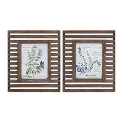 Grace Feyock - Grace Feyock Herbs and Butterflies Traditional Wall Art / Wall Decor X-73043 - Prints are accented by reclaimed wood frames with a distressed, medium wood tone finish and a taupe glaze. Frames have open slots allowing wall color to show thru.