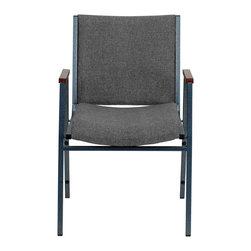 """Flash Furniture - HERCULES Series Heavy Duty, 3'' Thickly Padded, Gray Upholstered Stack Chair wit - This functional stack chair can be used in a multitude of environments from small to large. The versatility of the chair makes it appropriate to use in the Church, Offices, and Training Rooms or in the Classroom or Home. The thick padded seat and back will keep users comfortable throughout the duration of the day. Not only is this chair comfortable, but it is very durable with its heavy duty frame with bumper guards that will prevent the finish on the frame from being scratched when stacked. So when in need of temporary or permanent seating this multi-purpose stack chair is sure to meet the needs for any venue.; Multi-Purpose Stacking Chair; Stacks 12 Chairs High; Gray Fabric Upholstery; Thick High Density Foam over .625"""" Thick Plywood Seat and Back; Cherry Capped Arms; Heavy Duty .75"""" Square Tubular Frame; 18-Gauge High Carbon Steel Frame; .625"""" Stretcher Bars in Front and Back provide Extra Support; Silver Vein Powder Coated Frame Finish; Plastic Bumper Guards; Plastic Floor Glides; Meets or Exceeds CA117 Fire Resistance Standards; Limited Lifetime Warranty on Frame; Assembly Required: No; Country of Origin: China; Warranty: 2 Years; Weight: 21 lbs.; Dimensions: 31""""H x 21""""W x 21""""D"""