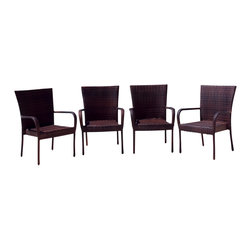 Great Deal Furniture - Ferndale Outdoor Brown Wicker Dining Chairs (Set of 4) - The Ferndale Outdoor Brown Wicker Dining Chairs are made out of one-of-a-kind rich, brown color wicker that will compliment any nearby landscape. The PE wicker allows these chairs to last in any weather condition with little maintenance. These sturdy chairs are also stylish and stackable for easy storage.