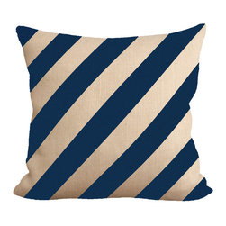 "Fiber and Water - Navy Stripes Pillow - No Pillow Insert. Cover Only - Navy Stripes. A great, subtle yet stylish addition to any home.  Hand-pressed onto natural burlap using water-based inks. Dimensions: 19""x19"". Front: 100% Sultana Burlap w/ Hand-Pressed Print In Navy. Back: 100% Natural Duck Cloth Canvas. French Seams & Surged Edges. Aluminum Hidden Zipper. Spot-Clean Only. As always, Made in Maine."