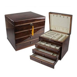Quality Importers - The Whitehall Jewlery Box - The Whitehall Jewlery Box  - Stately  semi-lacquered Walnut burl wood finish  Top main compartment for watch  ring  and bracelet storage  3 additional drawers for earrings  bracelets  rings  cuff links  and more   Quadrant hinges  This item cannot be shipped to APO/FPO addresses. Please accept our apologies.