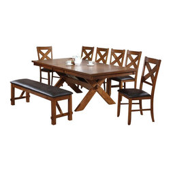 "Acme - 8-Piece Apollo Country Kitchen Style Collection Distressed Oak Finish Dining Set - 8-Piece Apollo country kitchen style collection distressed oak finish wood pedestal dining table set with leather like upholstered chairs and bench . This set includes the Table , 6 - side chairs and bench. Additional chairs also available separately at additional cost. Table measures 42"" W x 72"" L (90"" L with 1 - 18"" butterfly leaf included) . Side chairs measure 40"" H to the back. Bench measures 60"" x 17"" x 20"" H. Some assembly required."