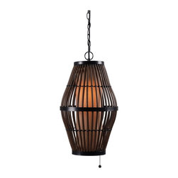 Kenroy Home - Kenroy 93390RAT Biscayne 1 Lt Outdoor Pendant - A glowing pillar radiates from inside a cage of all-weather rattan.  Biscayne's beautiful interplay of shape, texture and scale strikes an exotic pose.
