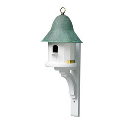 G.D. - Lazy Hill Farm Designs Copper Top Bird House with Blue Verde Copper Roof - This popular small house is enhanced with a blue verde copper roof and has a metal loop finial that can be used to hang the house.   Made in the USA.